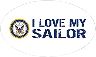 CafePress U.S. Navy: I Love My Sailor (Blue & Oval Bumper Sticker, Euro Oval Car Decal