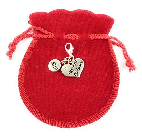 Forme de cœur My First Christmas 2017 Charms à clip avec sac cadeau en velours rouge à la main par Libby de place de marché