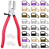 Key Fob Hardware, Shynek 50PCS 1 Inch Lanyard Keychain Hardware with Key Fob Pliers Tool for Keychain and Wristlet Clamp Hardware Supplies