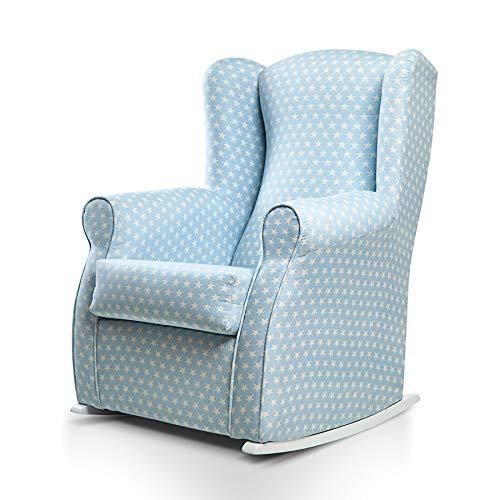 SUENOSZZZ-ESPECIALISTAS DEL DESCANSO Balancín Mecedora Olivia sillón para Lactancia tapizado en Estampado Azul con Estrella Blanca