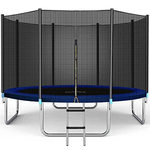 CalmMax Trampoline 8FT Jump Recreational Trampoline with Enclosure Net, Ladder - ASTM Approved - Combo Bounce Outdoor Trampoline for Kids