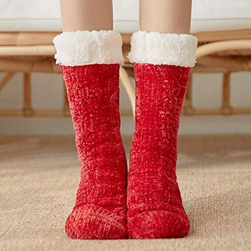 Zapatillas Casa Hombre Mujer Calcetines Navideños para Mujer Calcetines De Algodón De Invierno Calcetines Antideslizantes Más Gruesos Sólidos Calcetines De Alfombra Calcetines 37 Rojo
