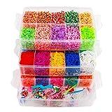 ONECK Caja Pulseras Gomas Bandas de Silicona Para Hacer Pulseras De Colores Bandas Kit para Pulseras(15000 Bandas Kit)