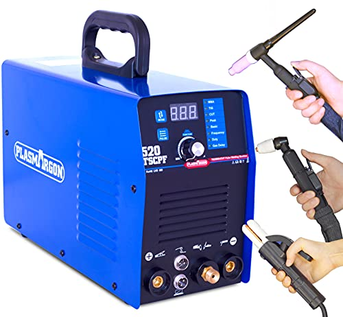Plasma Cutter TIG Welder Stick Welder 3 in 1 Combo 50A Plasma Cutting 200A TIG Arc MMA Welding Upgrade Increase Pulse Function Dual Voltage 110V/220V More Stable Welding Machine 520TSCPF