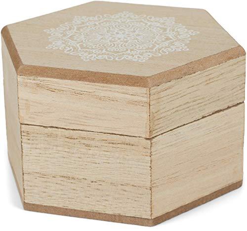 styleBREAKER 6-kantige houten juwelendoos met mandala bloemenprint voor juwelen, hangers, kettingen, geschenkdoos 05050097