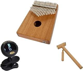 Kalimba Thumb Piano Package Includes: Electric Kalimba Thumb Piano 17 Key W/Piezo Pickup - Mahogany + Clip-on Chromatic Tuner + Hammer & Tuner For Kalimba Thumb Piano