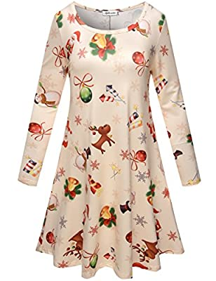 Aphratti Women's Long Sleeve Casual Santa Christmas Print Flare Swing Dress