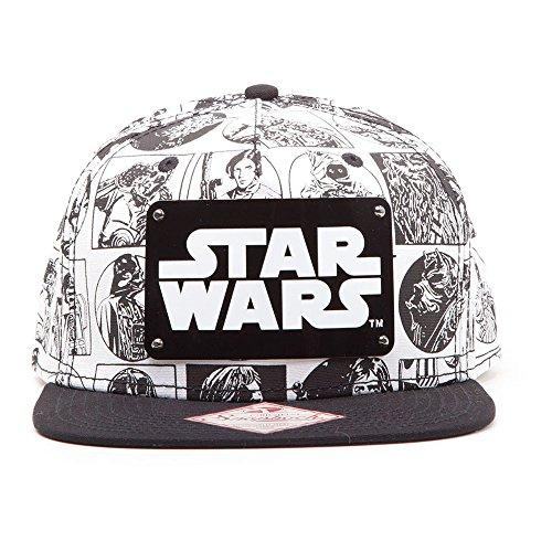 Star Wars Snapback Cap Comic Style con logo de metal para Unisex negro-blanco 100% algodón