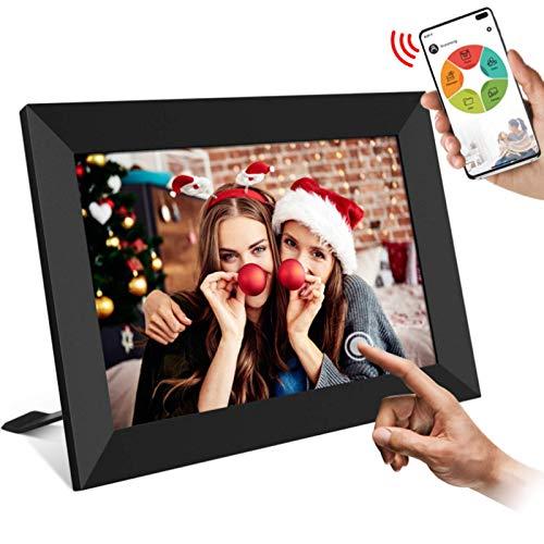 Snowtaros 8 Zoll Digitaler Bilderrahmen WiFi, Foto & Video Teilen Überall über App/Facebook/Twitter/E-Mail, mit Funktion Foto/Video/Kalender/Wecker/Wetter, 16 GB Speicher