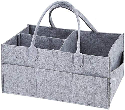 SKY-TOUCH Baby Diaper Caddy Organizer Tote Bag - Baby Shower Gift Basket | Nursery Storage Bin for Changing Table | Portable Car Travel Organizer