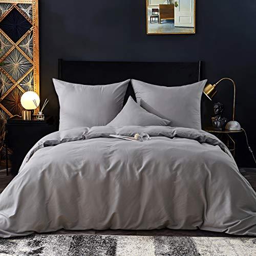 RUIKASI Bettwäsche Set 200 x 220 cm Grau Bettwäsche 100% Weiche und Angenehme Mikrofaser Schlafkomfort - 1 Bettbezug 200x220 mit Reißverschluss + 2 x Kissenbezüge 80 x 80 - 10 Jahre Garantie - grau