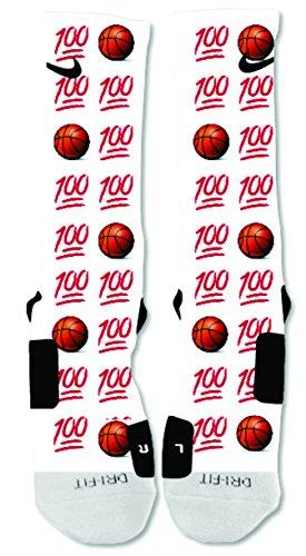 EliteDesignzz Men's 100% Basketball Emoji Custom Design Socks