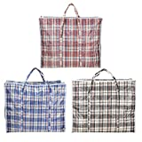 AAYAW Pack of 3 Extra Large Strong Laundry, Storage, Cloth, Moving, Reusable Store, Waterproof, Shopping, Zipper and Handles Checkered Bags Size: 60cm X 50cm X 25cm Or 20cm (+/- 10%)