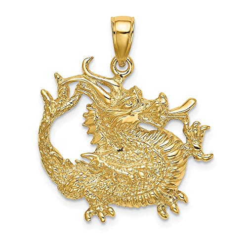 14k Yellow Gold 2 D Textured Dragon Pendant Charm Necklace Skull Dagger Fine Jewelry For Women Gifts For Her