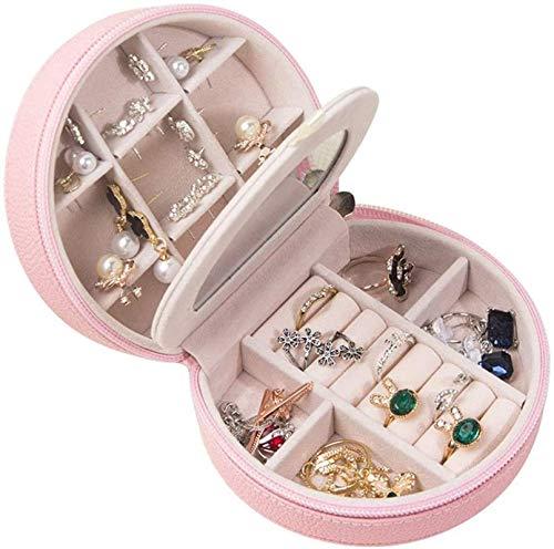 OH Caja de Alenamiento de Joyas Organizador Showcase Locker Locker Caja de Joyería de Cuero Hecho a Mano Caja de Joyería de Joyería Tienda de Collar de Mesa Portátil/Rosado