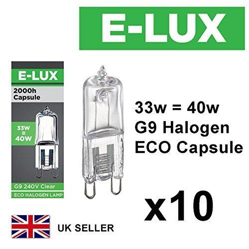 G9 Halogen-Leuchten, 10Stück, 240V, dimmbar, 460Lumen, sicher, verschweißt, umweltfreundlich 33W = 40W