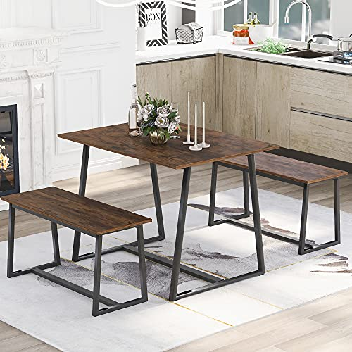 Kitchen Dining Table and 2 Bench Set, Garden Bench Home Furniture Set Dining Room Furniture, Solid Wooden & Sturdy Metal Frame Industrial, Brown