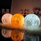 Lámpara Luna Moon impresa en 3D personalizada, 3 colores personalizados con soporte con imagen grabada Regalos para cumpleaños, bodas, día de San Valentín, regalo romántico 7.8 '