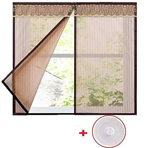 XGXQBS raamfolie, gaasgordijn met magische anti-muggenband, wasbaar, vliegengaas voor ramen 110x150cm(43x59inch) Bruin