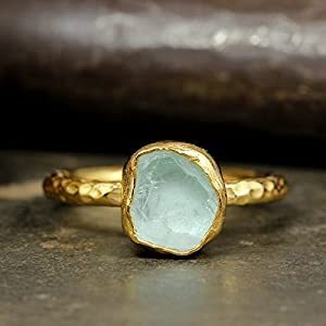 Natural Raw Fluorite Stacking Ring Handcrafted Hammered 24K Yellow Gold Vermeil 925 Solid Sterling Silver