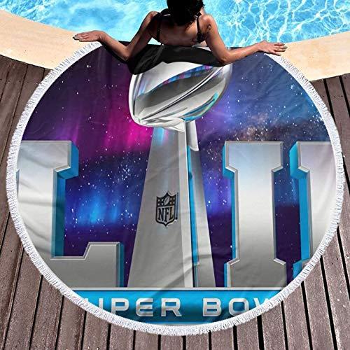 Super Bowl NFL - Sábanas de baño de fibra superfina para hombres y mujeres, resistentes a la decoloración, plegable, para gimnasio, camping, piscina, baño, diámetro redondo de 132 cm