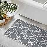 SussexHome Geometric Design 3 Piece Bathroom Rugs Set - Non-Slip Ultra Thin Bath Rugs for Bathroom Floor - Washable Cotton Bathroom Mats Set