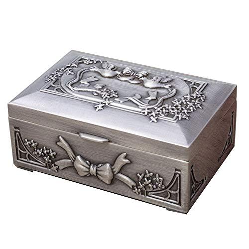 ZHJC Caja de Regalo de Joyería Vintage Pendientes de Metal de la Paloma de la Paz Cuadrado de la Caja del Anillo del Arco del Estilo de la Vendimia Coleccionista Retro