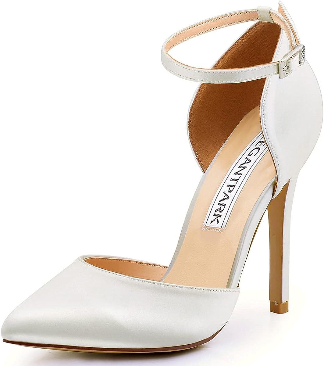 ElegantPark Pointed Toe 年間定番 激安通販 Heels for Wedding Ankle Women Brid Strap