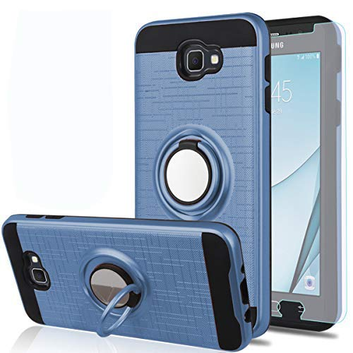 Galaxy J5 Prime Case, Galaxy On5 (2016 Version) Case with HD Screen Protector, YmhxcY 360 Degree Rotating Ring & Bracket Dual Layer Shock Bumper Cover for Galaxy J5 Prime-ZH Metal Slate