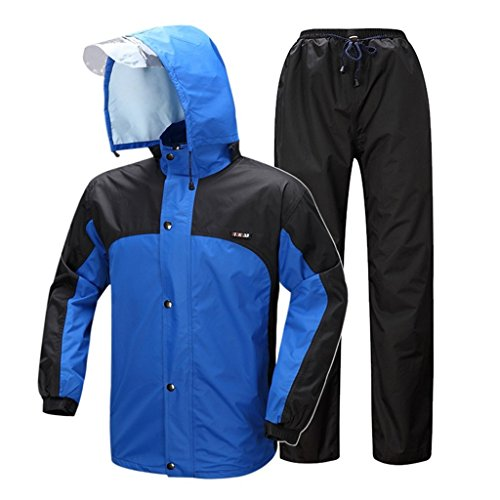 CZWYF Impermeable y los pantalones de lluvia reutilizable ropa for la lluvia (chaqueta de lluvia y la lluvia Pantalones Set) Adultos impermeable de la pesca a prueba de lluvia a prueba de viento al ai