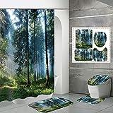 Cortina de Ducha Accesorios de baño Set de alfombras Conjunto, Mangle Diseño Hecho del Impermeable Antideslizante y Duradero de poliéster de instalación fácil, diari style6-XXXL