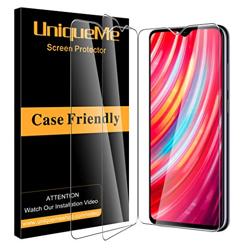 UniqueMe [3 Pack] Protector de Pantalla Compatible con Xiaomi Redmi Note 8 Pro Vidrio Templado [9H Dureza] [Sin Burbujas] HD Film Cristal Templado