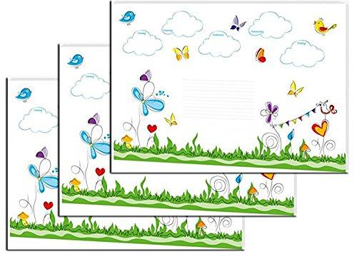 Notiz-Schreibunterlage, Maße (BxH): 600 x 420mm, 30 Blatt (Schmetterlinge, 3 Stück)