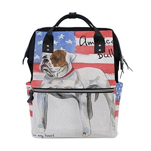 Bennigiry carte postale American Bulldog Sac à langer à Sac à dos Grande capacité de voyage à dos multifonctions Organiseur de sacs à couches bébé Sacs pour Mom