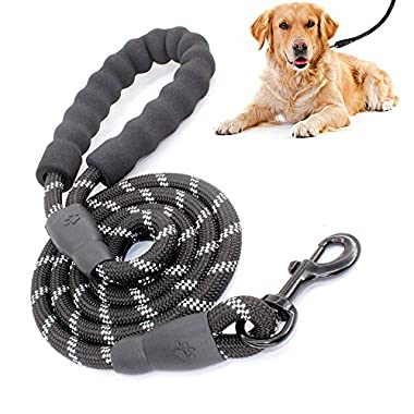5 FT Strong Dog Leash with Comfortable Padded Handle and Highly Reflective Threads for Medium and Large Dogs (Black)