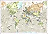 Maps International - Mapa del mundo grande, póster clásico con el mapa del mundo,...