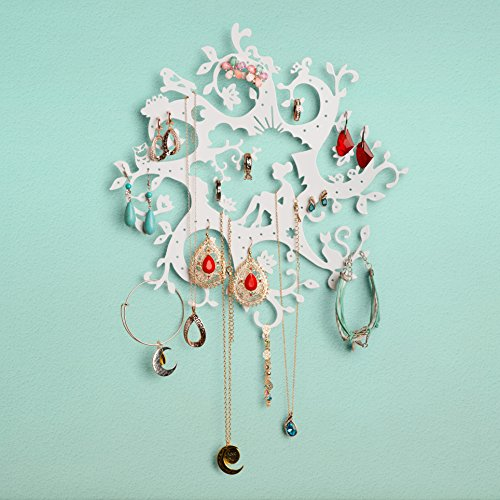 """Bay Area Housewares Jewelry Organizer Wall Display for Hanging Rings, Necklaces, Earrings – Girls Fairy Tale, Flowers, Magical """"Disney"""" Like, Victorian, Whimsical Jewelry Holder – White"""