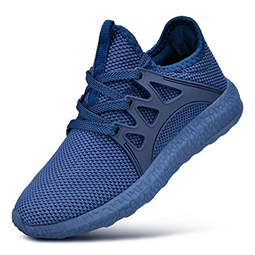 FiBiSonic Herren Damen Turnschuhe rutschfeste shuhe Atmungsaktiv Sneaker Leichtgewichts Laufschuhe für Running Fitness Gym Outdoor Walkingschuhe Blau 39