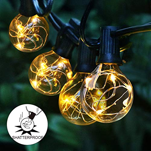 Arzerlize Outdoor String Lights LED for Patio, 35FT Premium 30+2 Bulbs Globe Backyard String Lights 0.1W- IP65 Waterproof Shatterproof String Lighting Outside Indoor for Bistro Christmas Decorative