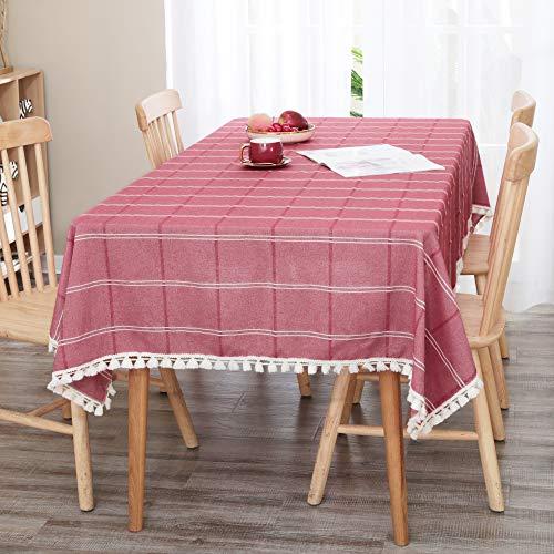 Deconovo Manteles Mesa Cocina Efecto Lino Impermeable Antimanchas Moderno 132x178cm Rojo
