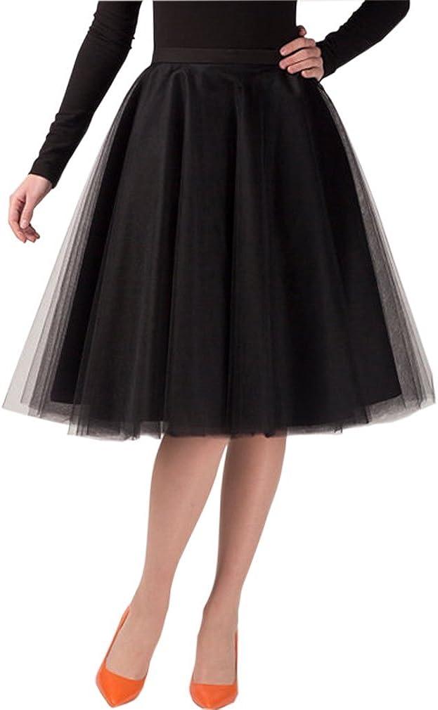 Lisong Women Tea Length A-line Tulle Midi Petticoat Princess Skirt