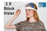 Fredo® 2X Gesichtsschutz - Aufklappbar Visier aus Kunststoff, CE-geprüft & zugelassen - Face Shield - Schutzschild mit verstellbarem Gummiband für Männer Frauen- Blau- Made in Europe