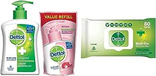 Dettol Handwash (Original) 200ml + Refill 175ml & Disinfectant Wipes (Original) 80 count