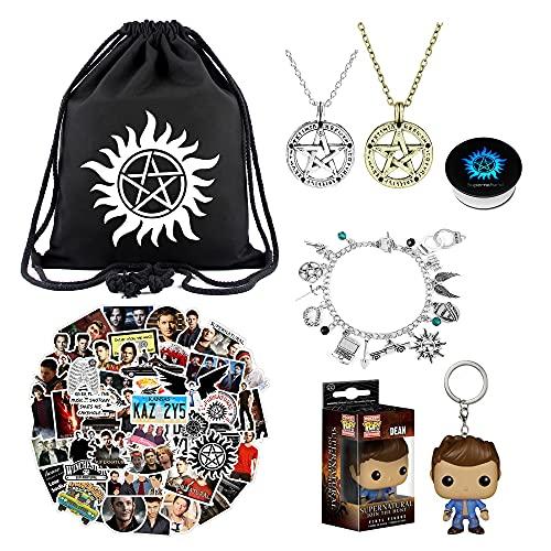 Supernatural Merchandise Gifts Set, Supernatural Stickers, Drawstring Bag, Retro Necklace for TV Fans Kids Teens Adult Gift