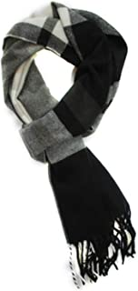 Runtlly Men's Winter Scarf Soft Classic Cashmere Feel Scarves Unisex 9-7 GrayBlack