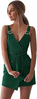 Sexy Dresses for Women,Women Deep V Wrap Ruched Sleeveless Nightclub Mini Dress with Pocket