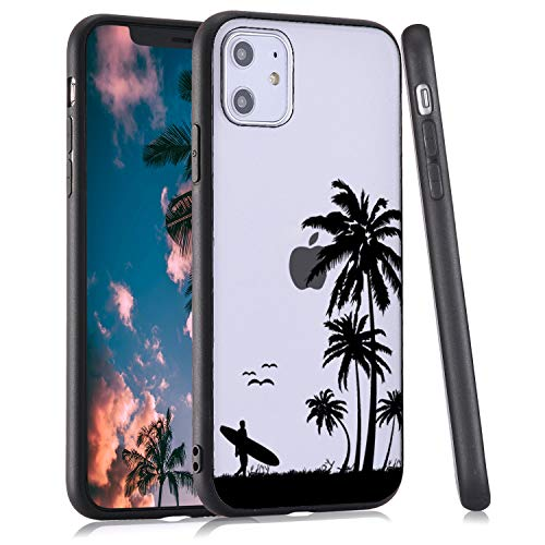 LuGeKe Palm Leaf Phone Case for iPhone 11,Coconut Tree Patterned Case Cover,Hard PC Back with TPU BumperAnti-Stratch Bumper Protective Cute Boys Phonecase(Summer Beach)