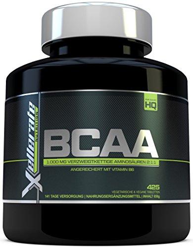 BCAA Tablette 1000 mg | 425 Tabletten | 3000 mg Tagesbedarf | 141 Tage Vorrat | 2:1:1 Mehrkettiges Aminosäuren-Nahrungsergänzungsmittel + B6 - Zutaten Beinhalten L-Leucin, L-Isoleucin, L-Valin
