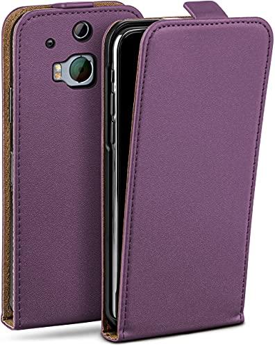 moex Flip Hülle für HTC One M8 / M8s Hülle klappbar, 360 Grad R&um Komplett-Schutz, Klapphülle aus Vegan Leder, Handytasche mit vertikaler Klappe, magnetisch - Lila