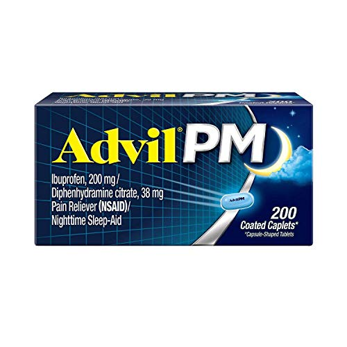 Advil PM (200 Count) Pain Reliever/Nighttime Sleep Aid Caplet, 200mg Ibuprofen, 38mg Diphenhydramine, 200 Count